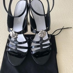 Chanel Black Patent Strappy Silver Camellia Shoes